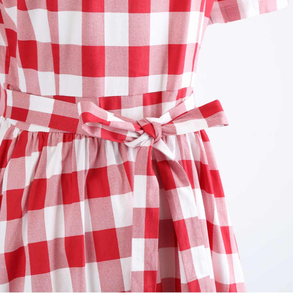Joineles/женское винтажное платье в клетку, большие размеры, элегантный стиль, отложной воротник, короткие рукава, ретро платье, вечерние платья