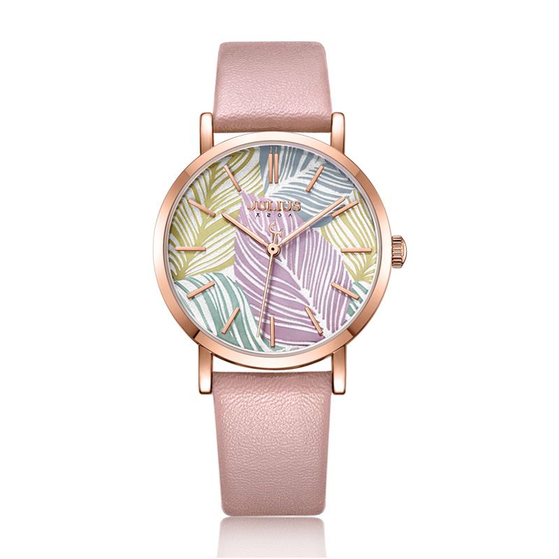 Julius Uhr Blatt Stil Geometrische Muster Moderne Design Zifferblatt Mode Leder Damen Kleid Uhr 30 mt Wasserdicht Whatch JA 1090-in Damenuhren aus Uhren bei  Gruppe 1