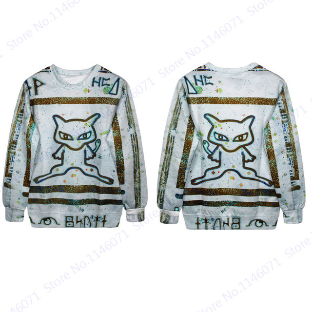 Pokemon Mew Mewtwo Print Sweatshirt Long Sleeve Women Autumn Jumper Pullover  Hoodie Trainning   Exercise Sweaters Moletom White 64725dbfa