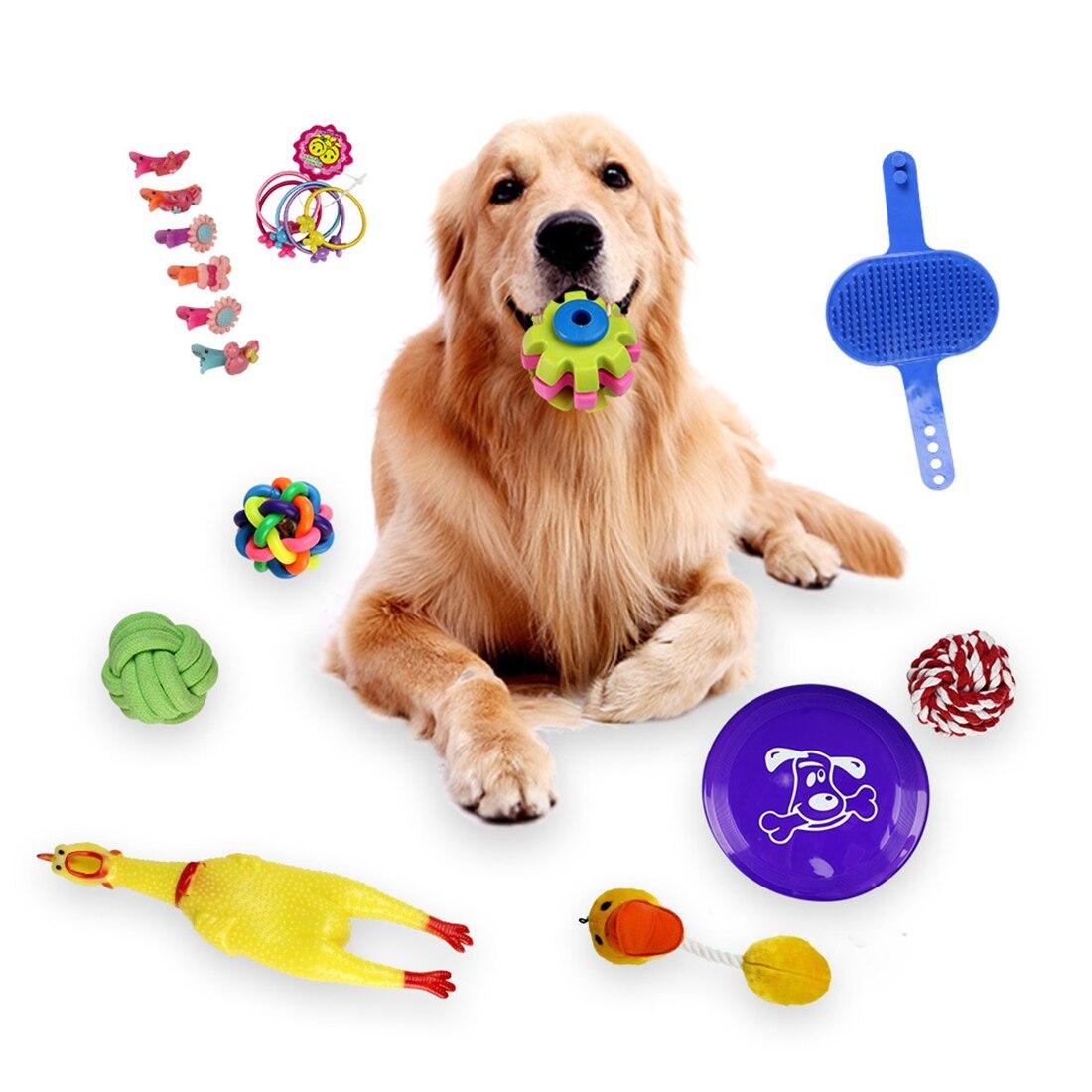 18Pcs Dog Teaser Squeak Toys Interesting Molar Toys for Pets Training