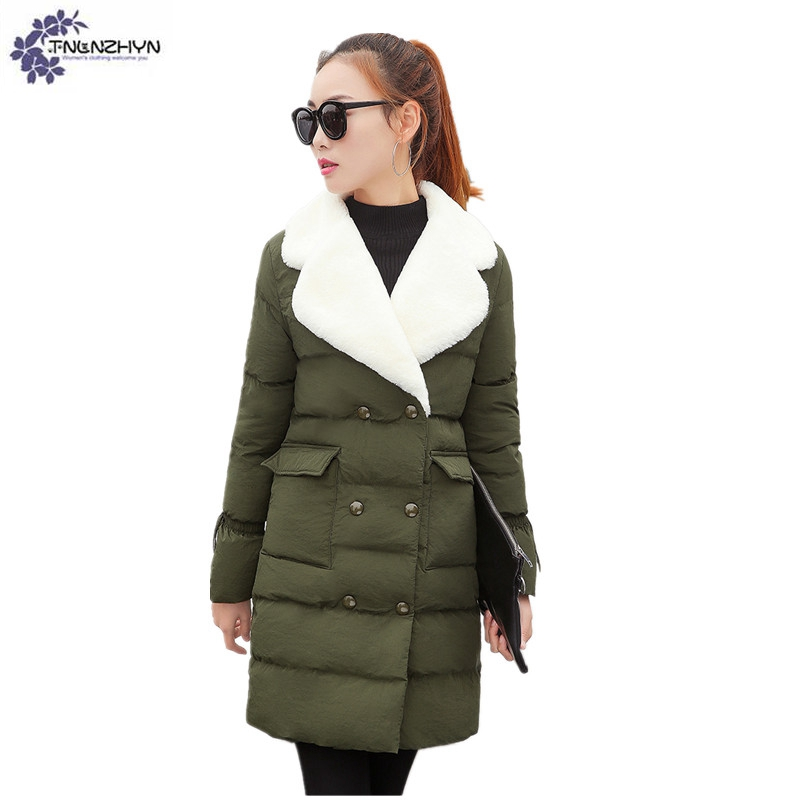 TNLNZHYN Young female clothes 2017 New Large size Winter Women Coat Medium Long Warm Fur Collar Cotton Jacket Thicken Coat AK338 2017 winter new clothes to overcome the coat of women in the long reed rabbit hair fur fur coat fox raccoon fur collar