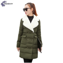 TNLNZHYN Young female clothes 2017 New Large size Winter Women Coat Medium Long Warm Fur Collar Cotton Jacket Thicken Coat AK338