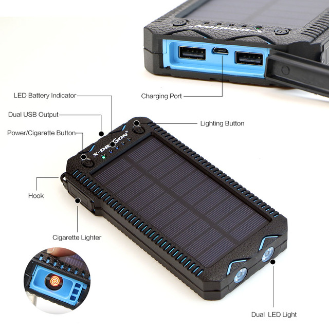 15000mAh Solar Power Bank with Cigarette Lighter  1