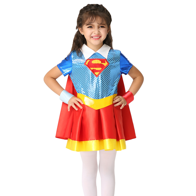 New Girls Superman Costume Halloween Costume For Kids Superhero Party Cosplay Costume Perform Short Skirt Stage  sc 1 st  AliExpress.com & New Girls Superman Costume Halloween Costume For Kids Superhero ...