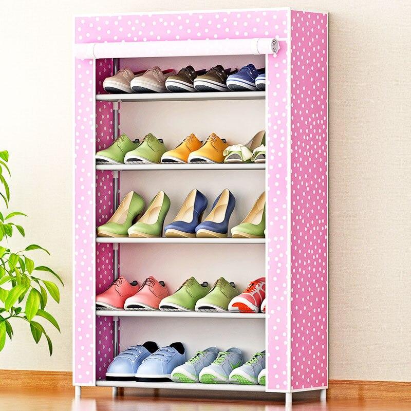 Modern minimalist super storage non-woven shoe organizer shoes storage home free assembly furniture 5-storey shoe closet cabinet цена