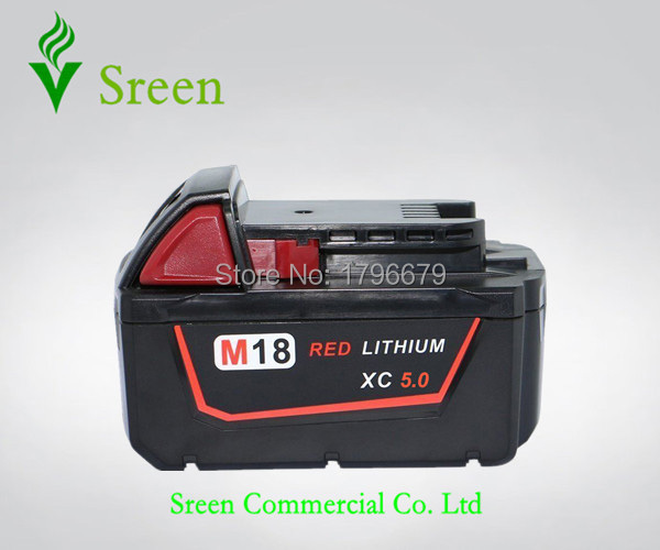 5000mAh Spare 18V Lithium Ion Rechargeable Power Tool Battery Replacement for Milwaukee M18 XC 48-11-1828 M18B2 C18B Li18 M18BX spare 2600mah 36v lithium ion rechargeable power tool battery replacement for bosch d 70771 bat810 2 607 336 107 bat836 bat840
