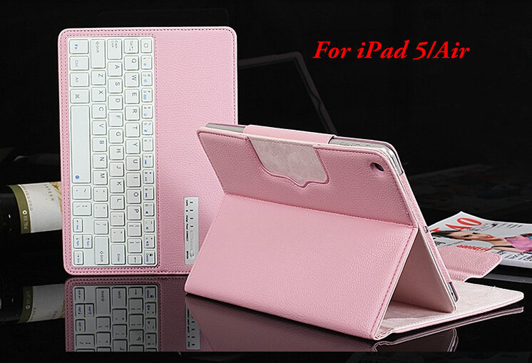 Factory Sale Luxury 2 in 1 Removeable Wireless ABS Keys Bluetooth Keyboard PU Leather Stand Case Holster For iPad Air