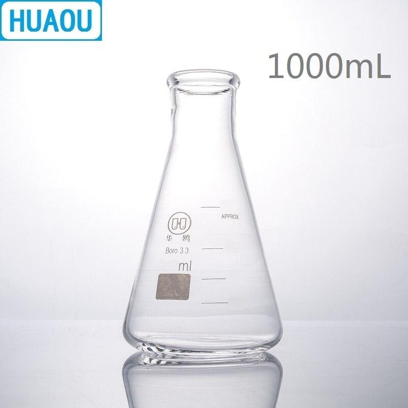 HUAOU 1000mL Erlenmeyer Flask Borosilicate 3.3 Glass Narrow Neck Conical Triangle Flask Laboratory Chemistry Equipment conical iodine quartz flask with stooper triangle quartz flask