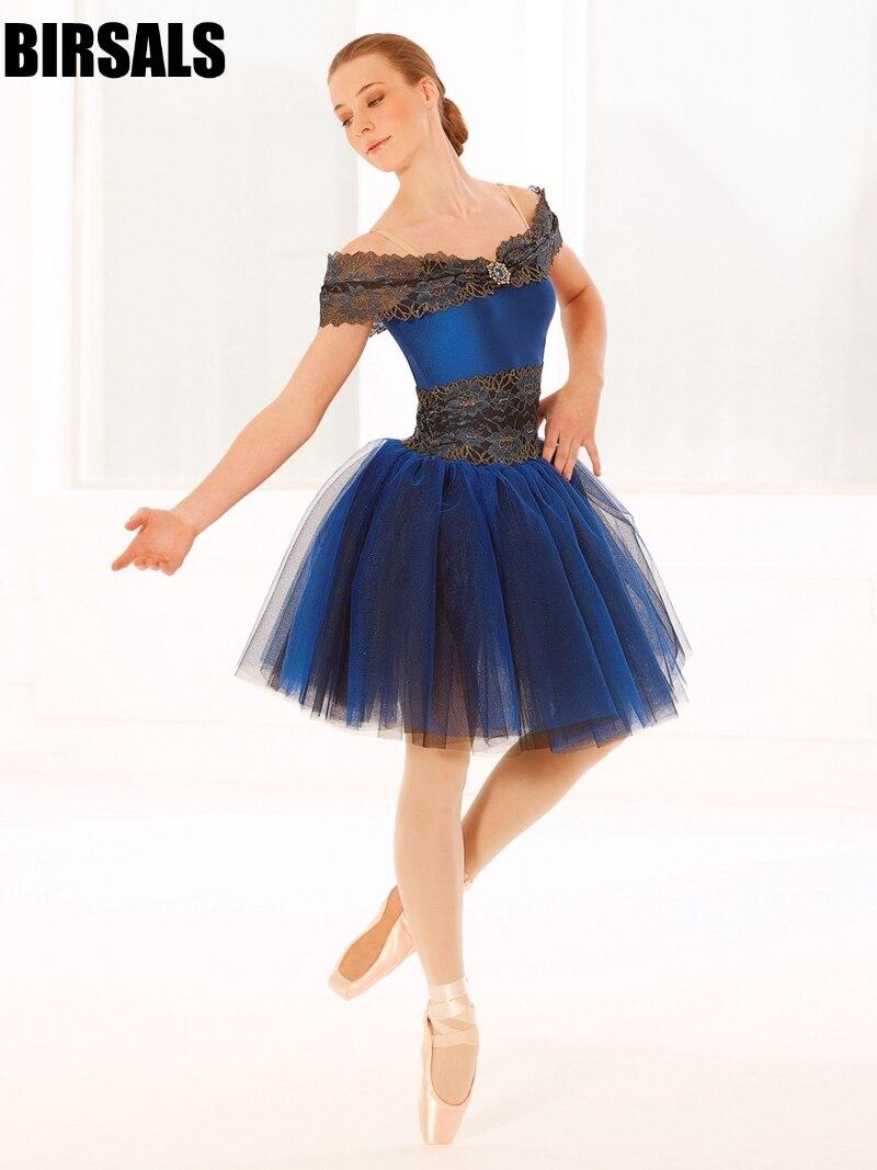 Adulte filles danse costume bleu romantique tutu robe enfant performance lyrique scène ballerine robe tutu BL0057