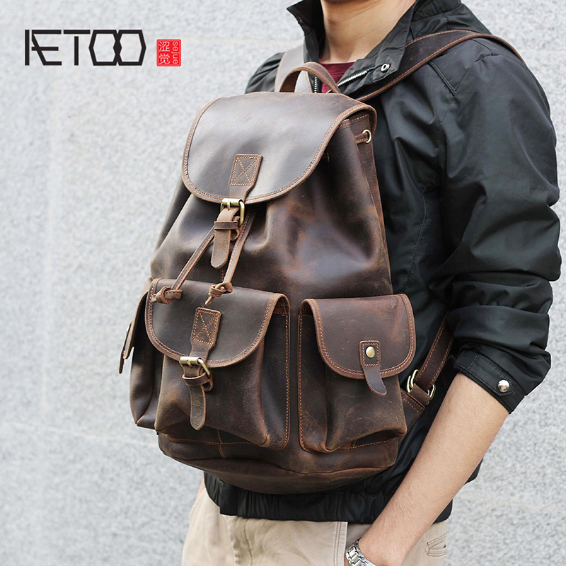 AETOO Mad Horse Leather large capacity double shoulder bag male imported head cowhide handmade leather travel BagAETOO Mad Horse Leather large capacity double shoulder bag male imported head cowhide handmade leather travel Bag