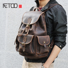 AETOO Mad Horse Leather large capacity double shoulder bag male imported head cowhide handmade leather travel Bag aetoo original large capacity mad horse leather bag male cowhide retro travel luggage bag leather shoulder shoulder men bag
