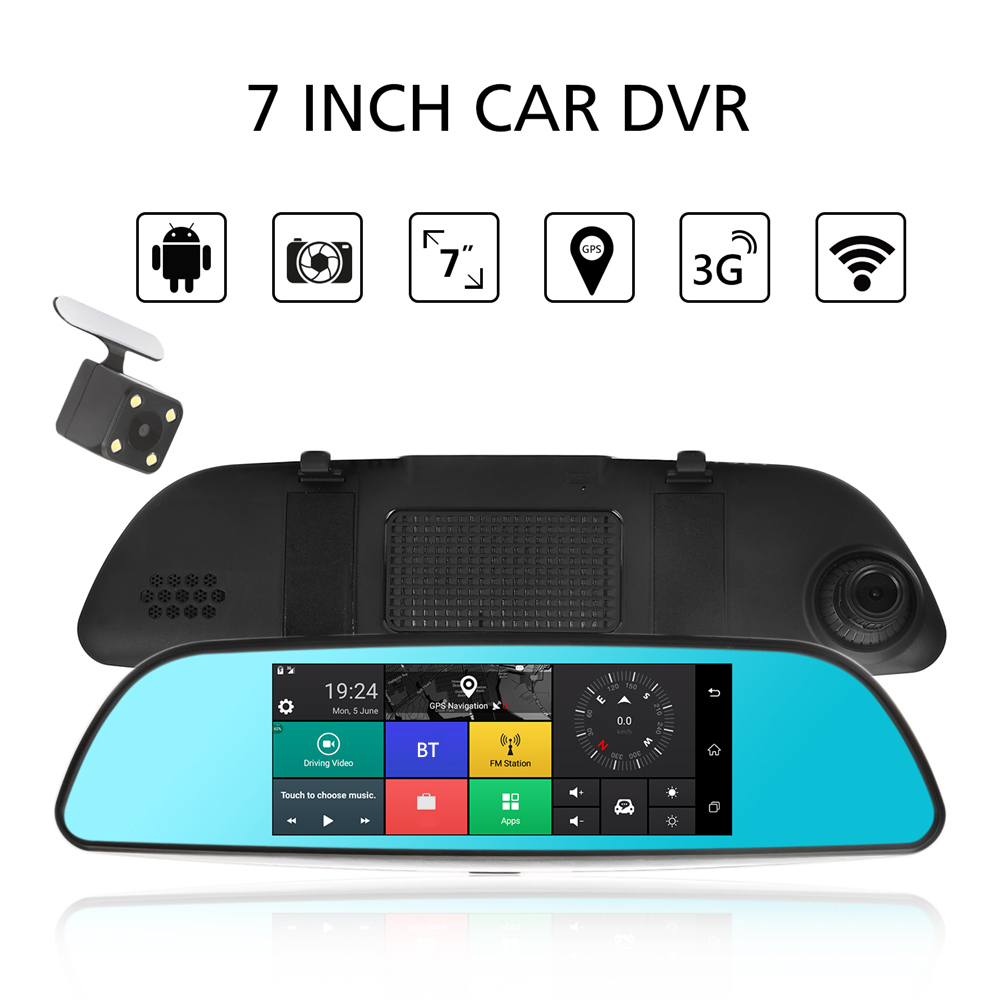 KKMOON 7 Car DVR 3G Wifi Rearview Mirror Dual Lens Recorder Camera Full HD 1080P Dash Cam Android 5.0 GPS Registrar Navigation dual dash camera car dvr with gps car dvrs car camera dvr video recorder dash cam dashboard full hd 720p portable recorder dvrs