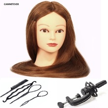 CAMMITEVER 20inch Blonde Hair Mannequin Head Salon Gifts Wigs Training Woman Hairstyling Cosmetology Hairdressers