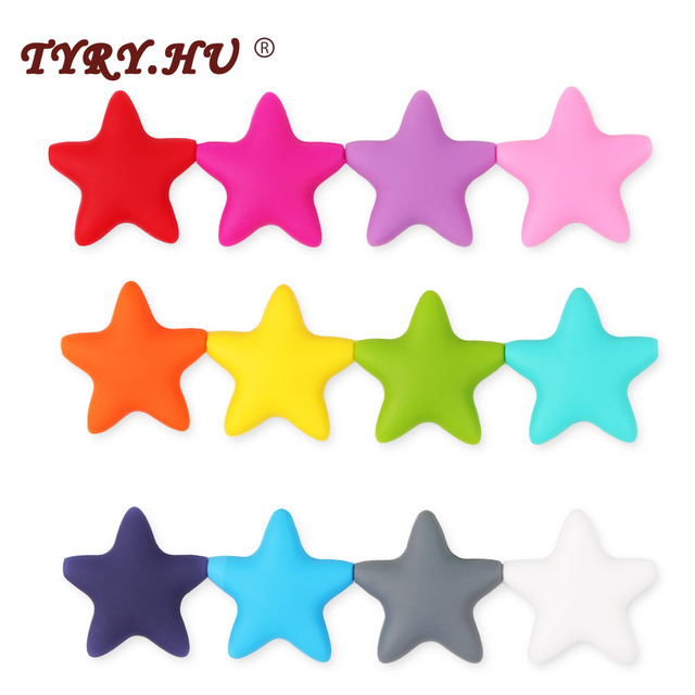 TYRY.HU 1Pc Star Silicone Beads Food Grade Baby Teething Loose Beads teether DIY Jewelry Bracelet Necklace Toy BPA Free 45*45mm