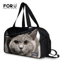 FORUDESIGNS Large Capacity Women Luggage Travel Bag Printing Cat Owl Printing Travel Tote Bag Big Size