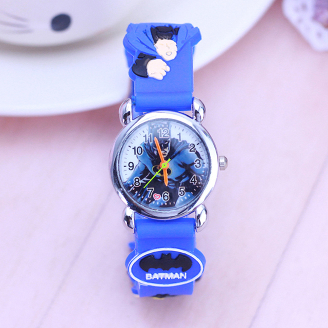 2018 Lovely 3D Cartoon Batman Watch Children Kids Boys Girls Students Quartz Wri