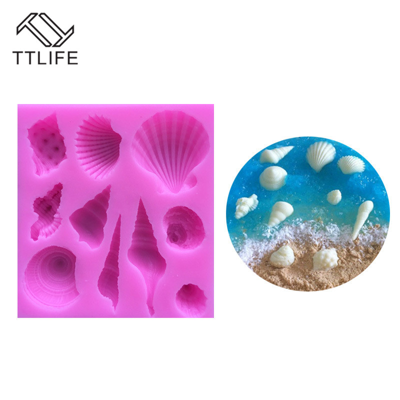 TTLIFE Ocean Conch Shell Silicone Mold Fondant Cake Pastry Decorating Tools Cupcake Confeitaria Chocolate Kitchen Baking Moulds in Cake Molds from Home Garden