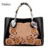 Nuleez genuine cowhide big tote bag women Chinese national hand caved leather floral luxury big capacity versatile bag 2018