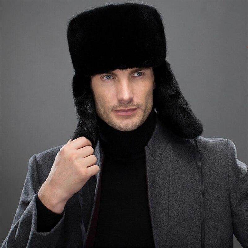 IANLAN Модные мужские импорт полный шкура норки куртка бомбер Шапки зимние ветрозащитные наушники Шапки одноцветное шапка в русском стиле Кеп