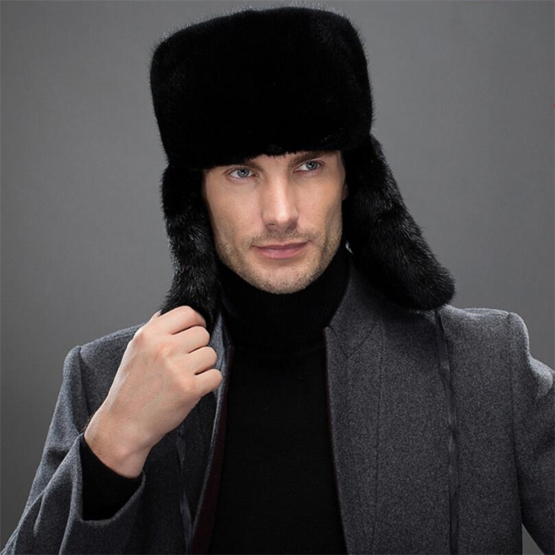 Men 100/% Real Genuine Otter fur Warm Winter Brown hat Cap Gift Luxury goods
