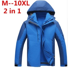 plus 10XL 8XL 6XL 5xl 2 IN 1 Fit Jacket Brand Waterproof Windbreaker Jacket Coat Winter Jacket Men Male Coat Rain Jacket Parka