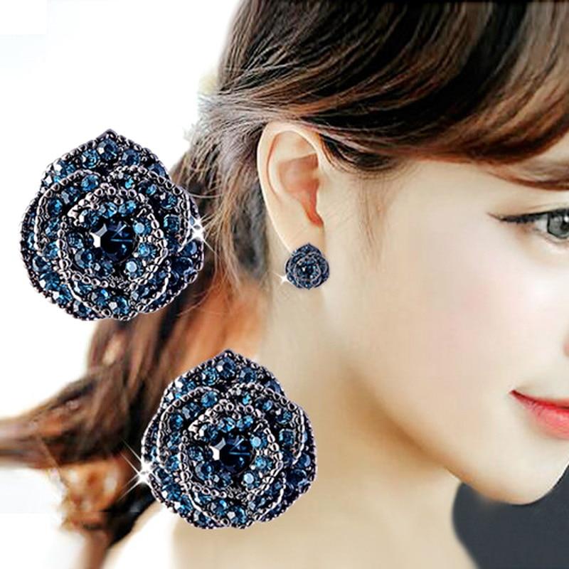 빈티지 달콤한 장미 꽃 블루 크리스탈 드롭 귀걸이 여성을위한 Bijoux 패션 쥬얼리 액세서리 귀여운 선물