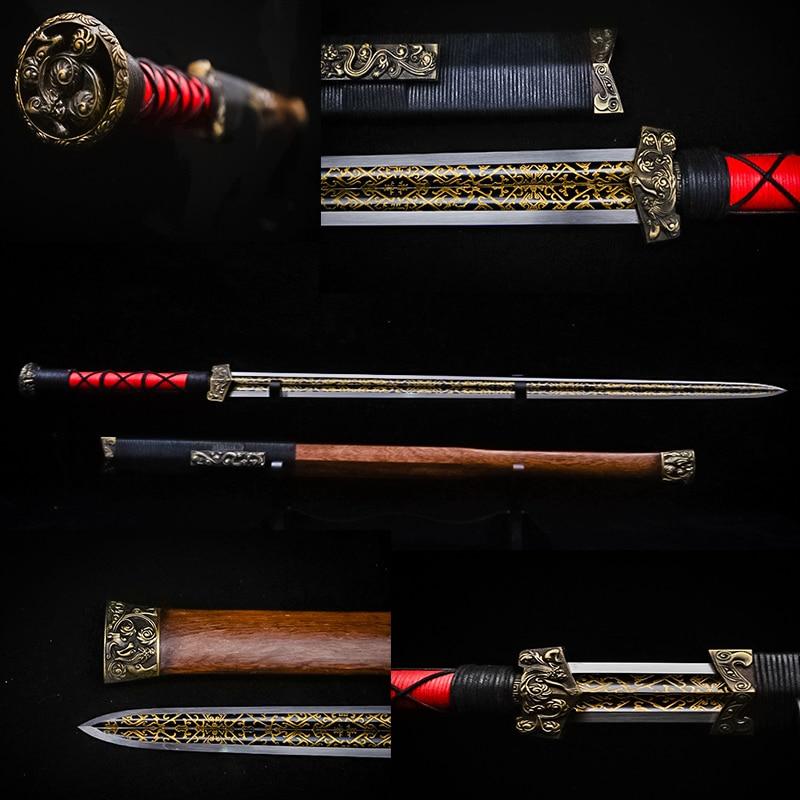 수제 중국 칼 스틸 실제 칼 탄소강 고대 중국 칼 칼 조각