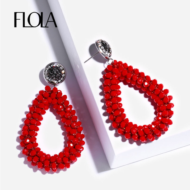 Flola 2018 Red Teardrop Beaded Earrings For Woman Handmade Crystal Beads Dangle Boho Woven