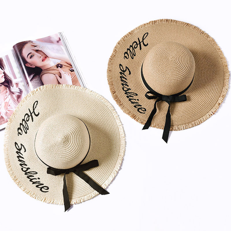 Embroidery Summer Straw Hat Women Wide Brim Sun Protection Beach Hat 2020 Adjustable Floppy Foldable Sun Hats For Women Ladies