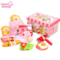 Infant Shining Kitchen Simulation Toy Set Simulated Western Breakfast Wooden Cut Fruit Toy Children Play House Toy Set Blocks