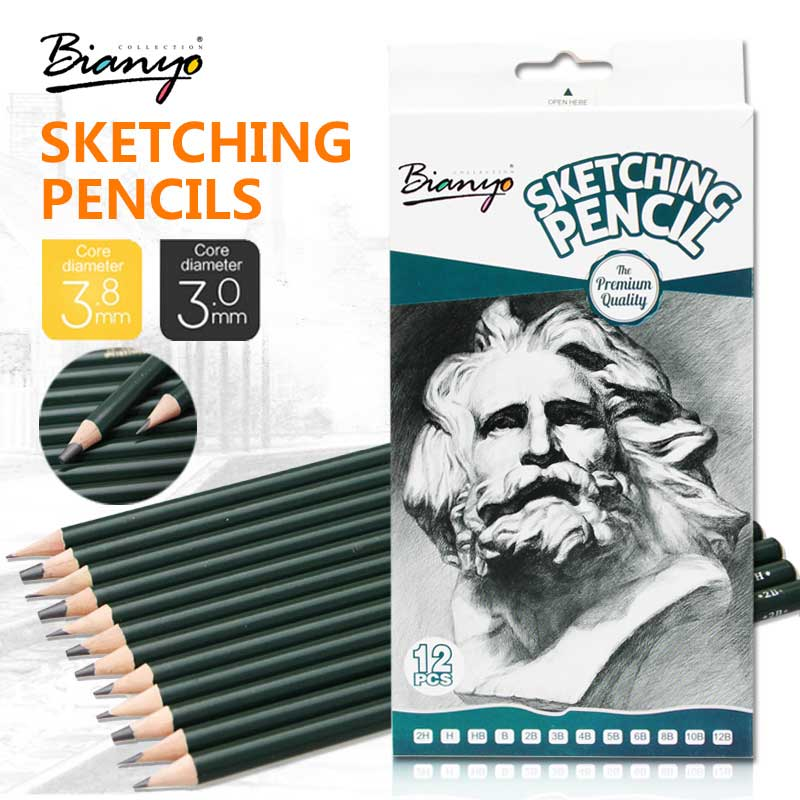 Bianyo 12 Pcs Sketch Pencils Different Hardness 2H-12B Drawing Pencil Set For School Student Standard Pencil Stationery Supplies marco renoir 12pcs sketch drawing pencils non toxic standard pencils 2h 8b different hardness pencil stationery school supplies