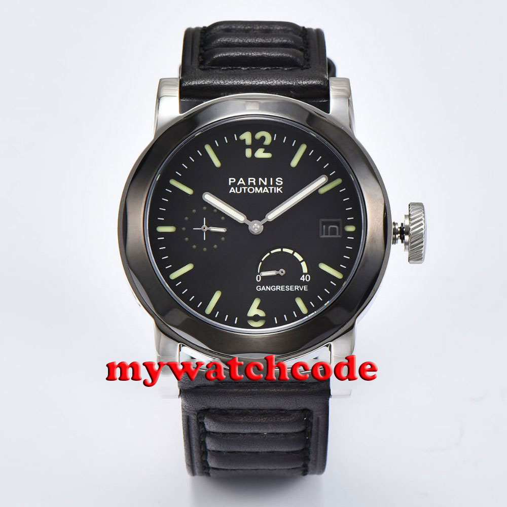 44mm Parnis black sandwich dial power reserve indicator Sapphire glass sea-gull 2530 Automatic Mens Watch P708