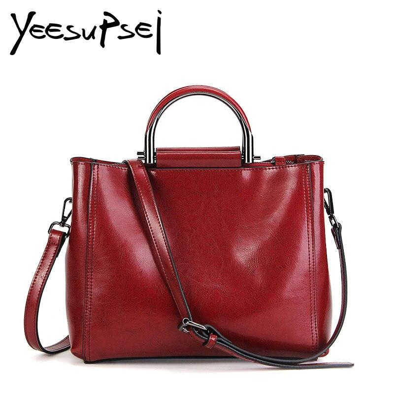 YeeSupSei Genuine Leather Hard Handle Women Handbag Single Shoulder Strap Women Bag Vintage Messenger Bag Office Lady Briefcase