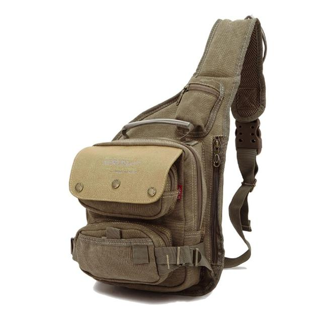 162ac090eee2 2018 Men Canvas Military Travel Riding Motorcycle Cross Body Messenger  Shoulder Back pack Sling Chest Bag