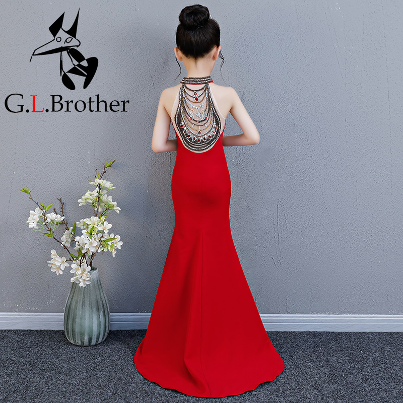 Luxury Mermaid Long Flower Girl Dress Wedding Princess Dress Red Beading Evening Kids Girls Dress For Birthday Party Show Gowns luxury princess dress evening gowns birthday floral pearl beading girls formal dress detatchable trailing flower girl dresses b