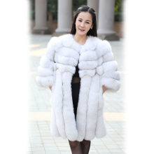 2016 new warm length 80cm genuine real fox fur coat natural fur coats vertical striped leather design women real fur jacket
