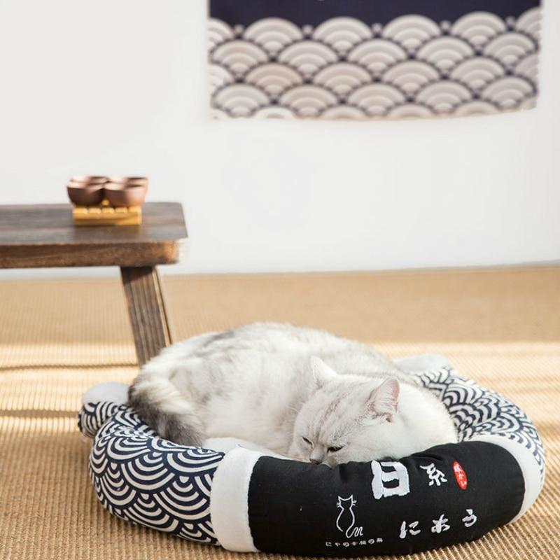 Animal de compagnie chat coussin chien lit maison chenil doux animal tapis chiot chat japonais sommeil profond lit animal maison nid petit chien Pad hiver chaud