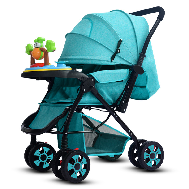 High landscape widened and extended baby stroller can sit and fold baby stroller four seasons universal baby stroller baby stroller can sit and fold folded light high landscape winter newborn baby child stroller
