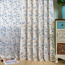 hot deal buy blue flowers leaf leaves curtains plant cortinas and tulle wedding bedroom cortinas tulle sheer curtains roman curtain blackout