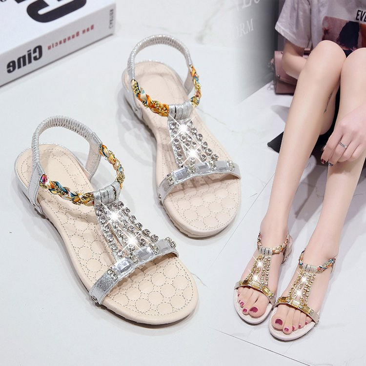 2019 new sandals female summer wild rhinestone flat casual wild student fashion sandals womens tide beach shoes2019 new sandals female summer wild rhinestone flat casual wild student fashion sandals womens tide beach shoes