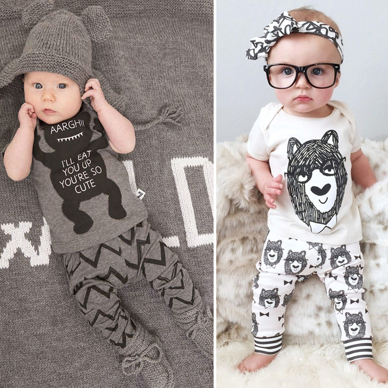 Baby Boys Girls Fashion Clothes Kids Short Sleeve Monster Outfit Newborn Clothes Infant Clothing Set