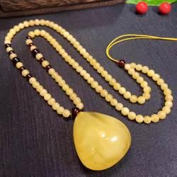 100% натуральный желтое золото капельного янтарный кулон 35x31x19 мм янтарные цепочки и ожерелья для женщин Человек подарок с бусинами из