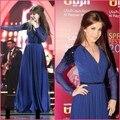 2017 Árabe Elegante Celebridades Nancy Ajram Vestidos de Noite A Linha Azul Marinho Com Decote Em V de Mangas Compridas Chiffon do baile de Finalistas Do Partido Vestidos Formais