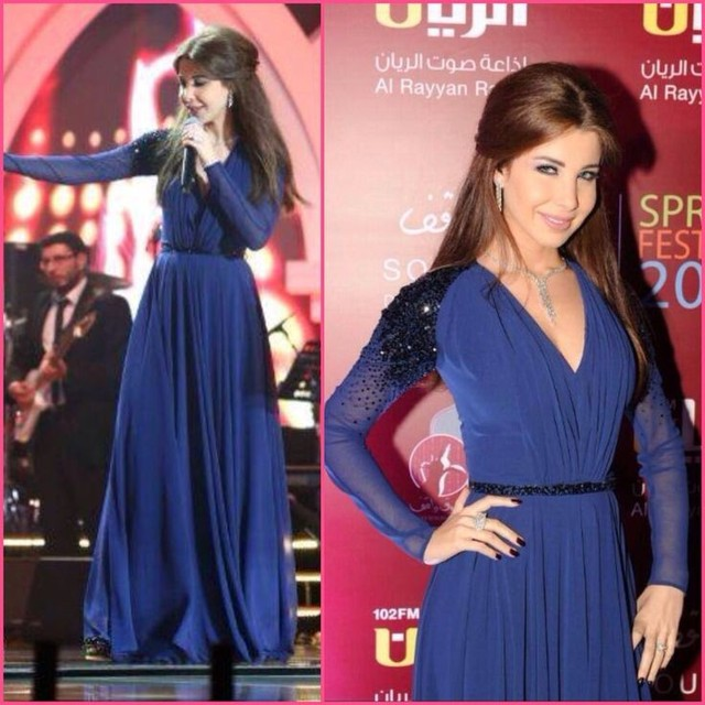 2017 Elegant Arabic Celebrity Nancy Ajram Evening Dresses A-Line Navy Blue V-Neck Long Sleeves Chiffon Prom Party Formal Gowns