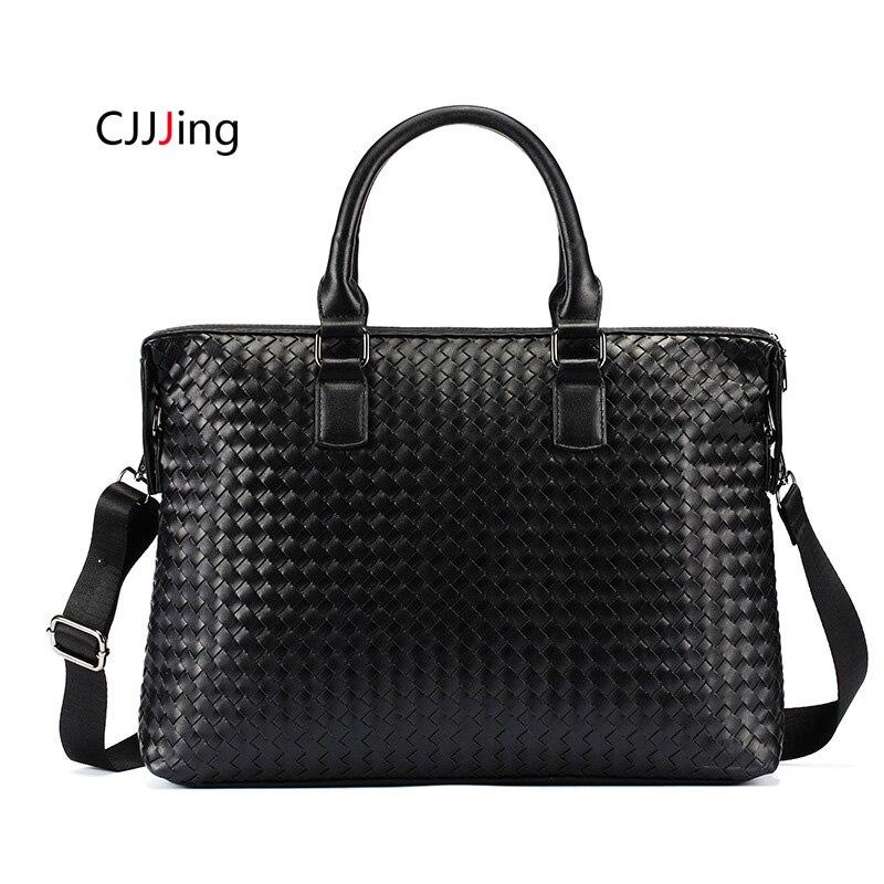Men Office Business Bags Handbags Shoulder Messenger Case Woven Style Crossbody Bag Mens Attache Case Briefcase Laptop Bag
