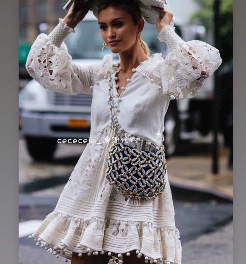Detail Feedback Questions about Runway Zim Designer Dress 2018 Women s  blouson sleeves pleat smock trim cuffs floral embroidery Corsage  Embellished Mini ... 49f8289489c9