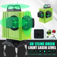 3D Level Self Leveling Laser Levels 12 Lines Green Light Beam Line Rotary 360 Horizontal Vertical Cross Automatic Laser Line