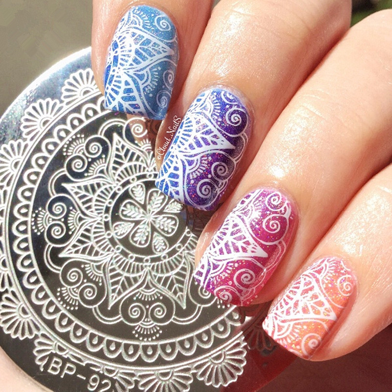 Born Pretty Nail Art Stamp Template Arabesque Geometry Arrow Full Lace Flower Design Image Nail