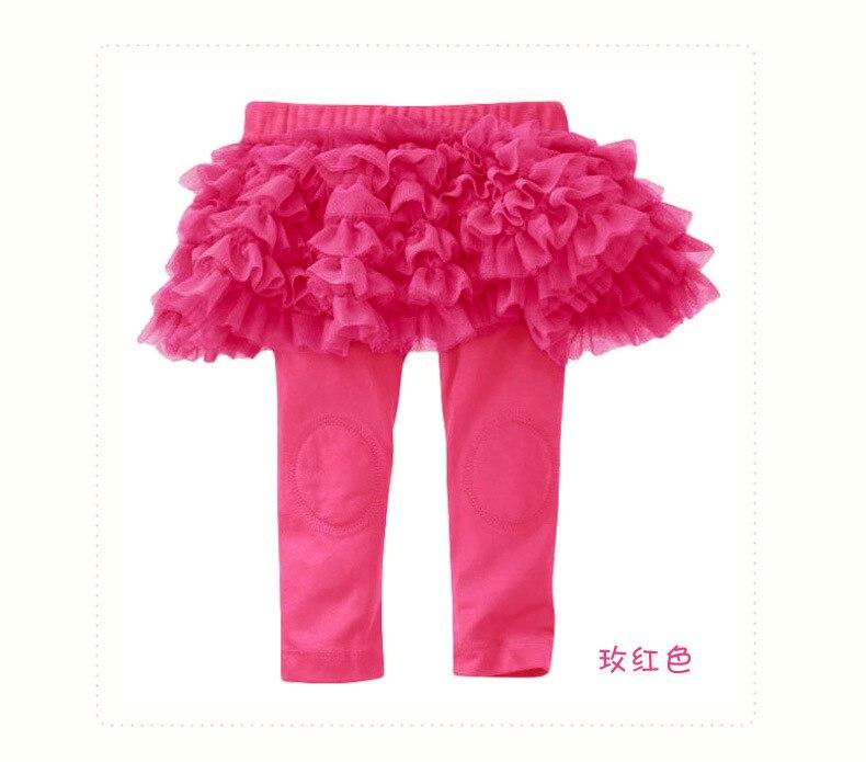 Hp-01; обтягивающие длинные однотонные леггинсы для маленьких девочек с оборками; юбка для От 0 до 3 лет - Цвет: ROSE RED
