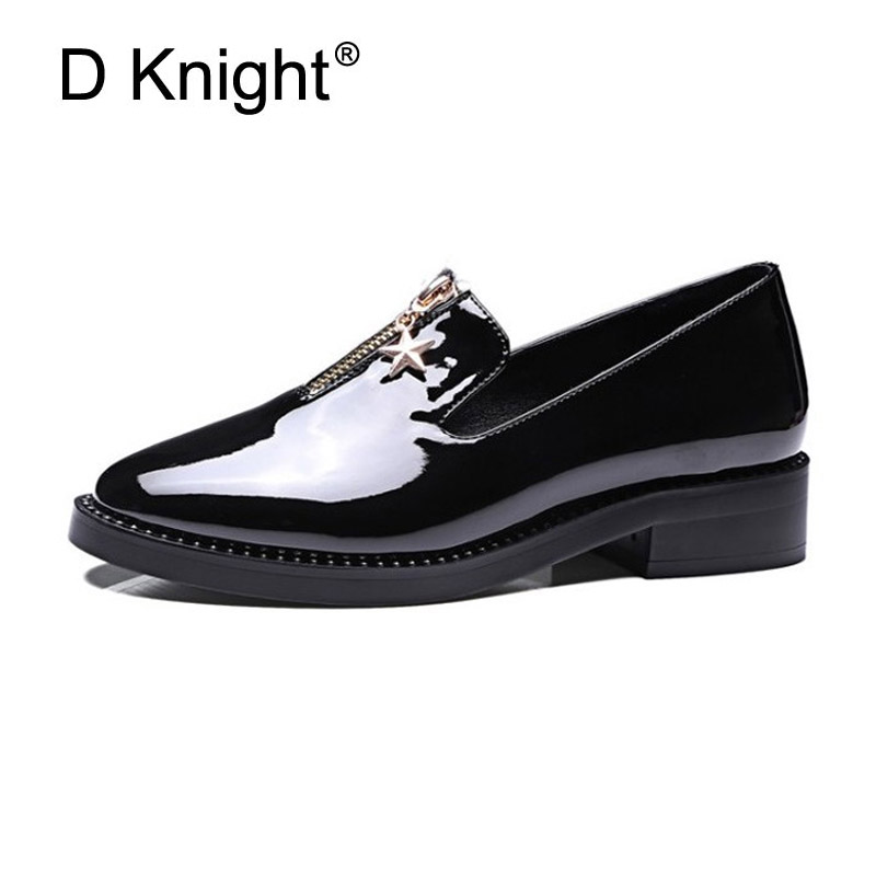 Fashion Front Zipper Women Oxfords Round Toe Slip On Women Loafers Patent Leather Plus Size 33-43 Ladies Flat Platform Shoes D27 high quality women oxfords low heel casual shoes patent leather tassel comfort slip on round toe creeper black loafers